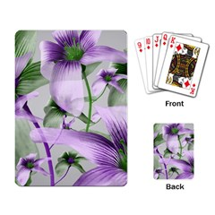 Lilies Collage Art In Green And Violet Colors Playing Cards Single Design by dflcprints