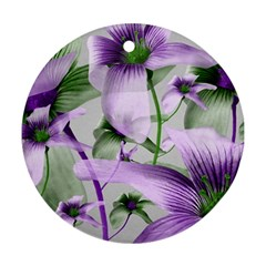 Lilies Collage Art In Green And Violet Colors Round Ornament (two Sides) by dflcprints