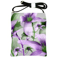 Lilies Collage Art In Green And Violet Colors Shoulder Sling Bag by dflcprints