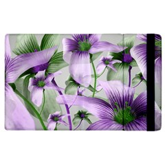 Lilies Collage Art In Green And Violet Colors Apple Ipad 3/4 Flip Case by dflcprints
