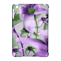 Lilies Collage Art In Green And Violet Colors Apple Ipad Mini Hardshell Case (compatible With Smart Cover) by dflcprints