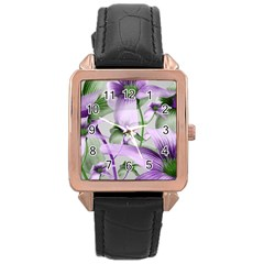 Lilies Collage Art In Green And Violet Colors Rose Gold Leather Watch  by dflcprints