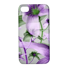 Lilies Collage Art In Green And Violet Colors Apple Iphone 4/4s Hardshell Case With Stand by dflcprints