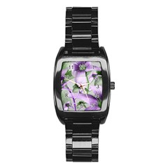 Lilies Collage Art In Green And Violet Colors Stainless Steel Barrel Watch by dflcprints