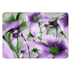 Lilies Collage Art In Green And Violet Colors Samsung Galaxy Tab 8 9  P7300 Flip Case by dflcprints
