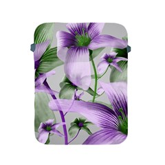 Lilies Collage Art In Green And Violet Colors Apple Ipad Protective Sleeve by dflcprints