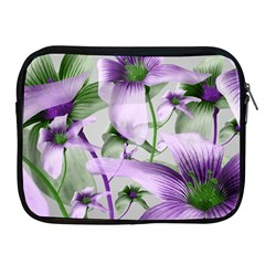 Lilies Collage Art In Green And Violet Colors Apple Ipad Zippered Sleeve by dflcprints
