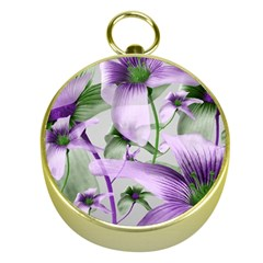 Lilies Collage Art in Green and Violet Colors Gold Compass by dflcprints