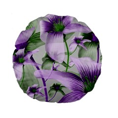 Lilies Collage Art In Green And Violet Colors 15  Premium Flano Round Cushion  by dflcprints