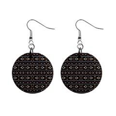 Tribal Dark Geometric Pattern03 Mini Button Earrings by dflcprints