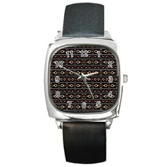 Tribal Dark Geometric Pattern03 Square Leather Watch by dflcprints