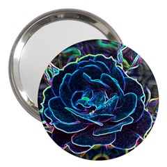 Swirly Blue Neon Rose 3  Handbag Mirror by stineshop