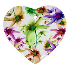 Multicolored Floral Print Pattern Heart Ornament by dflcprints