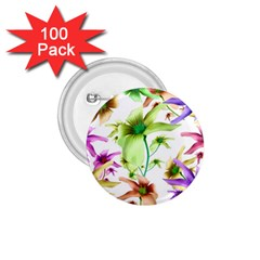 Multicolored Floral Print Pattern 1 75  Button (100 Pack) by dflcprints