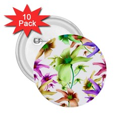 Multicolored Floral Print Pattern 2 25  Button (10 Pack) by dflcprints