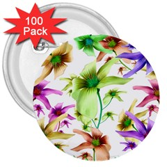 Multicolored Floral Print Pattern 3  Button (100 Pack) by dflcprints