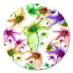 Multicolored Floral Print Pattern Magnet 5  (round) by dflcprints