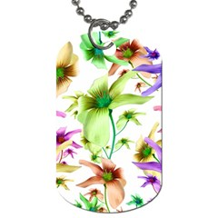 Multicolored Floral Print Pattern Dog Tag (two Sided)  by dflcprints