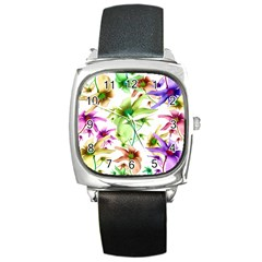 Multicolored Floral Print Pattern Square Leather Watch by dflcprints