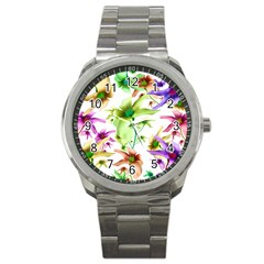 Multicolored Floral Print Pattern Sport Metal Watch by dflcprints