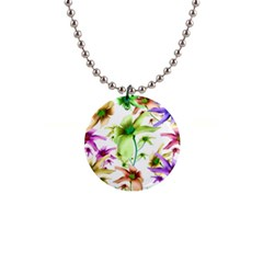 Multicolored Floral Print Pattern Button Necklace by dflcprints