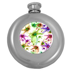 Multicolored Floral Print Pattern Hip Flask (round) by dflcprints
