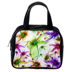 Multicolored Floral Print Pattern Classic Handbag (one Side) by dflcprints