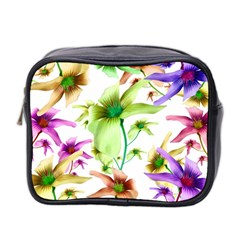 Multicolored Floral Print Pattern Mini Travel Toiletry Bag (two Sides) by dflcprints