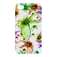 Multicolored Floral Print Pattern Apple Iphone 4/4s Premium Hardshell Case by dflcprints