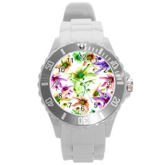 Multicolored Floral Print Pattern Plastic Sport Watch (large) by dflcprints