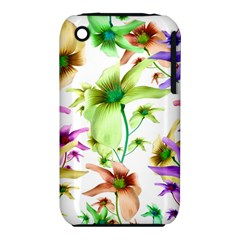 Multicolored Floral Print Pattern Apple Iphone 3g/3gs Hardshell Case (pc+silicone) by dflcprints