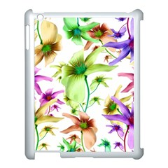 Multicolored Floral Print Pattern Apple iPad 3/4 Case (White) by dflcprints
