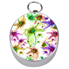 Multicolored Floral Print Pattern Silver Compass by dflcprints