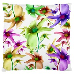 Multicolored Floral Print Pattern Large Flano Cushion Case (two Sides)