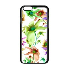 Multicolored Floral Print Pattern Apple Iphone 6 Black Enamel Case by dflcprints