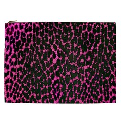 Hot Pink Leopard Print  Cosmetic Bag (xxl) by OCDesignss