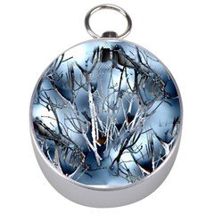Abstract Of Frozen Bush Silver Compass by canvasngiftshop