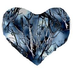 Abstract Of Frozen Bush 19  Premium Flano Heart Shape Cushion