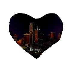Dallas Skyline At Night 16  Premium Flano Heart Shape Cushion  by StuffOrSomething