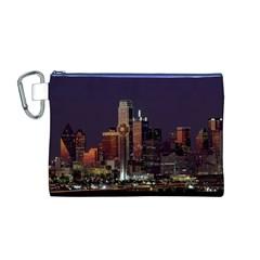 Dallas Skyline At Night Canvas Cosmetic Bag (medium) by StuffOrSomething