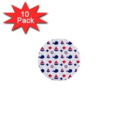 Nautical Sea Pattern 1  Mini Button (10 Pack) by StuffOrSomething