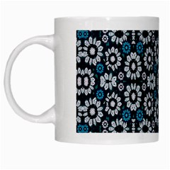 Floral Print Seamless Pattern In Cold Tones  White Coffee Mug by dflcprints