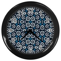 Floral Print Seamless Pattern In Cold Tones  Wall Clock (black) by dflcprints