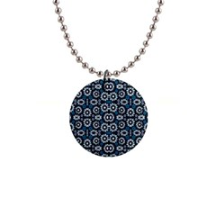 Floral Print Seamless Pattern In Cold Tones  Button Necklace by dflcprints