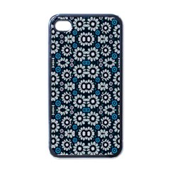 Floral Print Seamless Pattern In Cold Tones  Apple Iphone 4 Case (black) by dflcprints