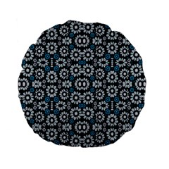 Floral Print Seamless Pattern In Cold Tones  15  Premium Flano Round Cushion  by dflcprints