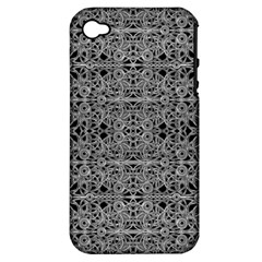 Cyberpunk Silver Print Pattern  Apple Iphone 4/4s Hardshell Case (pc+silicone) by dflcprints