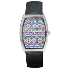Aztec Style Pattern In Pastel Colors Tonneau Leather Watch by dflcprints