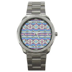 Aztec Style Pattern In Pastel Colors Sport Metal Watch by dflcprints
