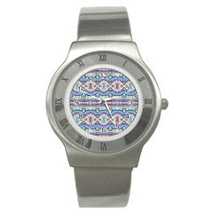 Aztec Style Pattern In Pastel Colors Stainless Steel Watch (slim) by dflcprints